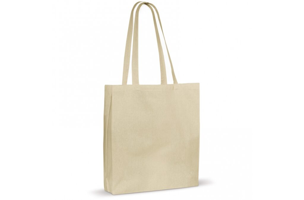 Classic unbleached cotton shoulder bag with gusset. Ideal for promotional activities. This OEKO-TEX® certified bag is a sustainable choice.