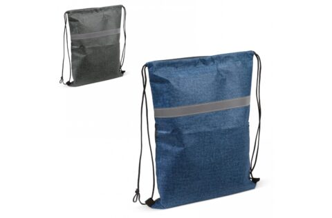 Handy drawstring backpack with reflective stripe for additional visibility in the dark. Suitable for many purposes.