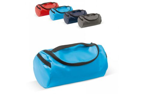 Handy toiletries kit made of sturdy material. The bag is completely lined and has mesh pockets inside.
