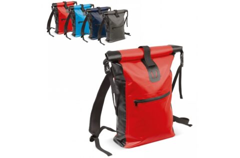 Adjustable, weather resistant backpack made of sturdy material. The roll top can be closed in two ways giving additional flexibility. The welded seams keep the contents dry and the shoulder straps are padded for comfort.