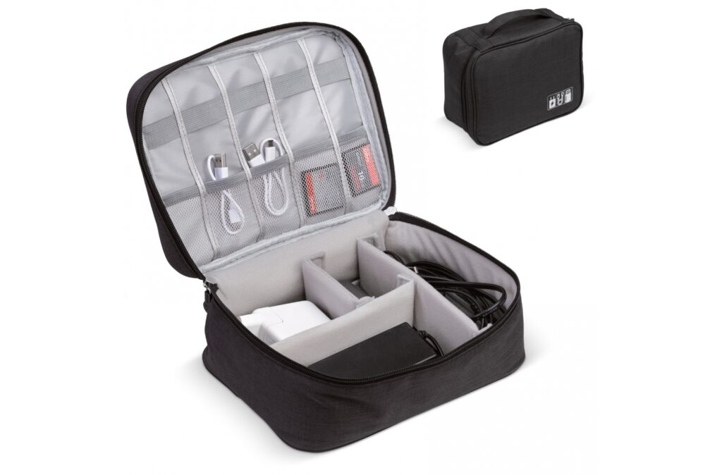 To deal with the increasing amount of cables, chargers, memory cards and other electronic items that we carry along, this electronics organizer offers relieve. It's padded to protect sensitive items and the flexible dividers and pockets makes it easy to pack everything by demand.