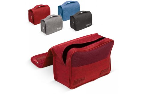 Convenient toiletries kit with various pockets. The hook makes it possible to hang it.
