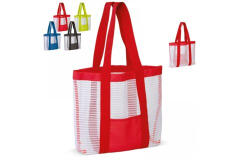 Nice beach bag in various colour combinations. Sand and water can easily escape through the open structure of the mesh material. On the front, between the handles there is a small pocket.