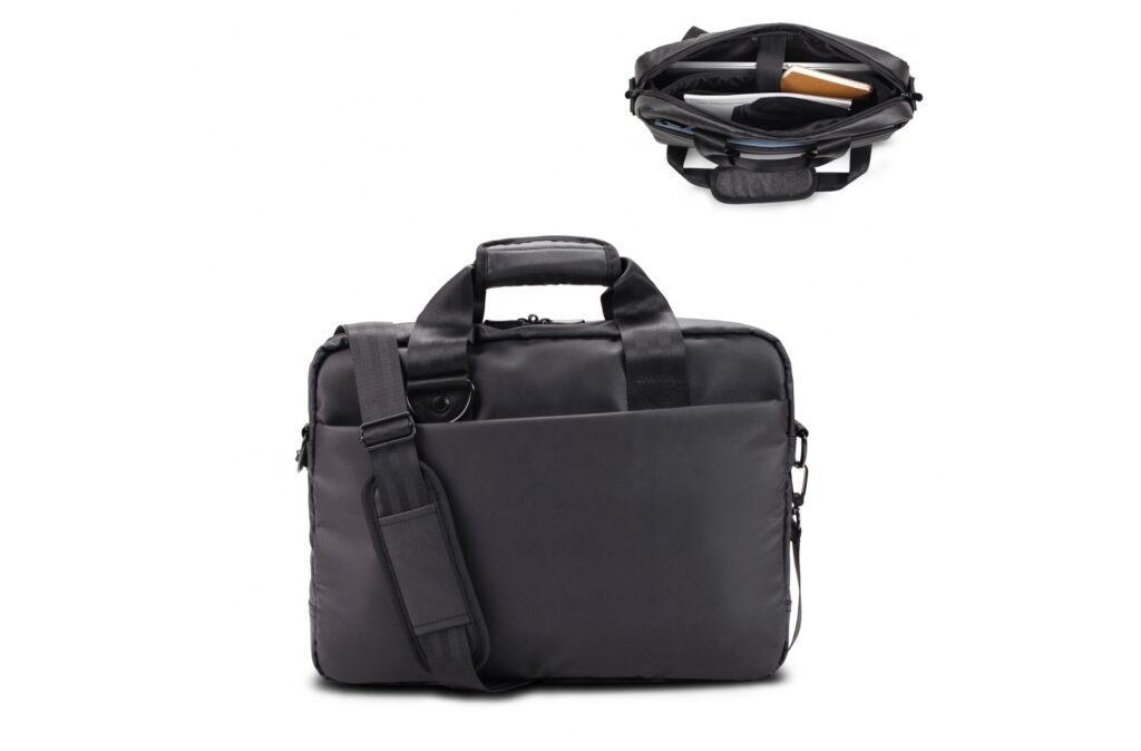 """Stylish smart business laptop shoulder bag designed by Toppoint. The padded laptop pocket holds up to 15.6"""" laptops and has an additional pocket for tablet computers. The wide special woven handles and straps, the signature front pocket and extra large hardware give the bag a distinguished look and suitable for virtually any environment."""