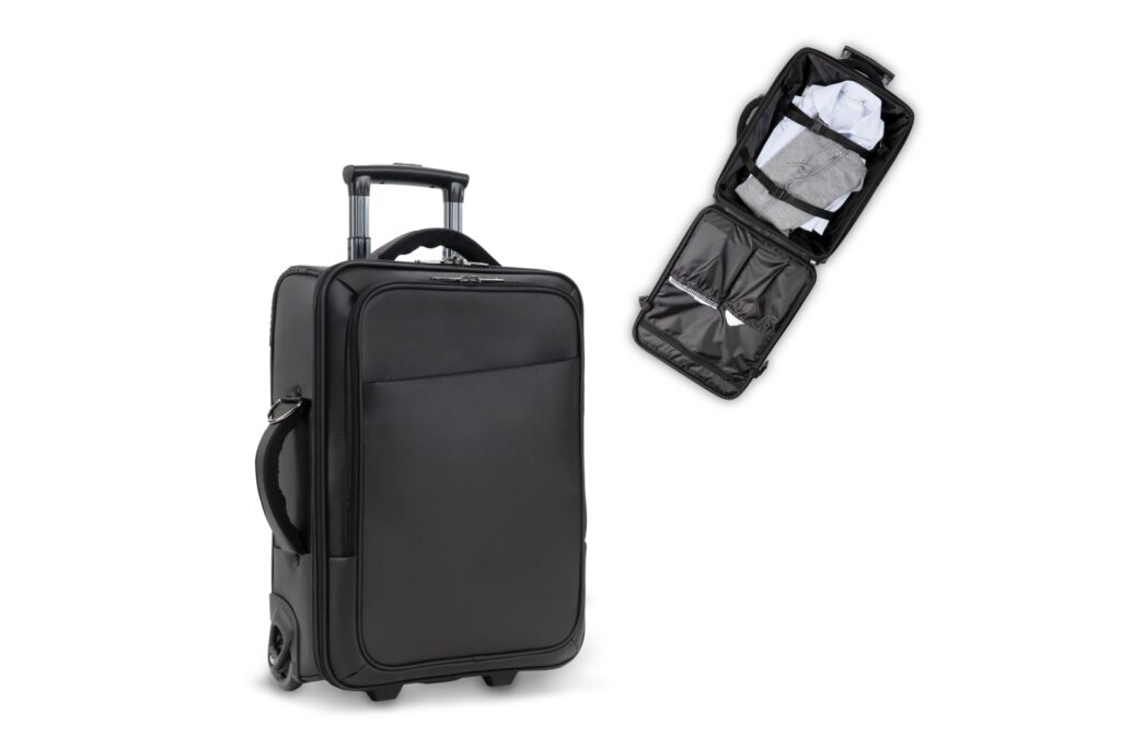 """Stylish smart business hand luggage trolleycase designed by Toppoint. The front pocket contains a laptop pocket, holding laptops up to 17"""" and has an extra pocket for tablet computers. The spacious main compartment can be used to carry young belongings while on a short trip. The signature front pocket and extra handle on the side give the bag a distinguished look."""