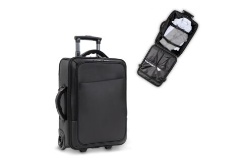 "Stylish smart business hand luggage trolleycase designed by Toppoint. The front pocket contains a laptop pocket, holding laptops up to 17"" and has an extra pocket for tablet computers. The spacious main compartment can be used to carry young belongings while on a short trip. The signature front pocket and extra handle on the side give the bag a distinguished look."