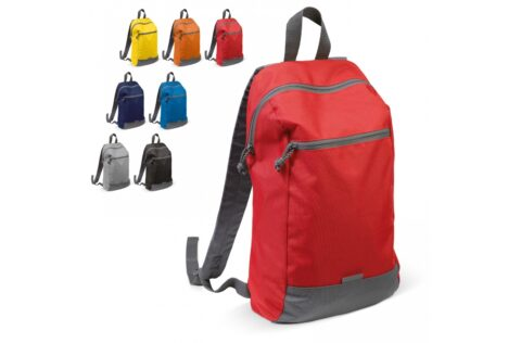 Convenient backpack to go to the gym or for everyday use. The pocket on the front can be closed with a zipper to store your valuables. A small patch of reflective material gives added visibility in the dark.