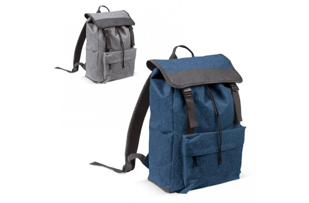 Large backpack with a stylish formal design. On the side is a special pocket for a bottle. The front pocket can be closed by a zipper.