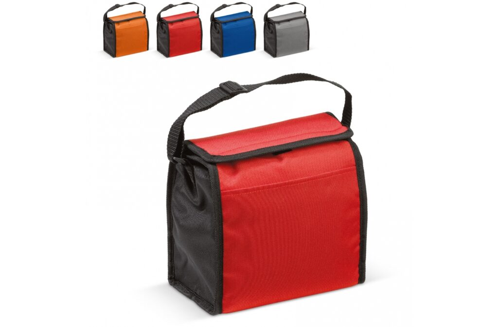 Handy cooler with silver insulation foil. It has enough room for a standard six-pack or a healthy lunch.