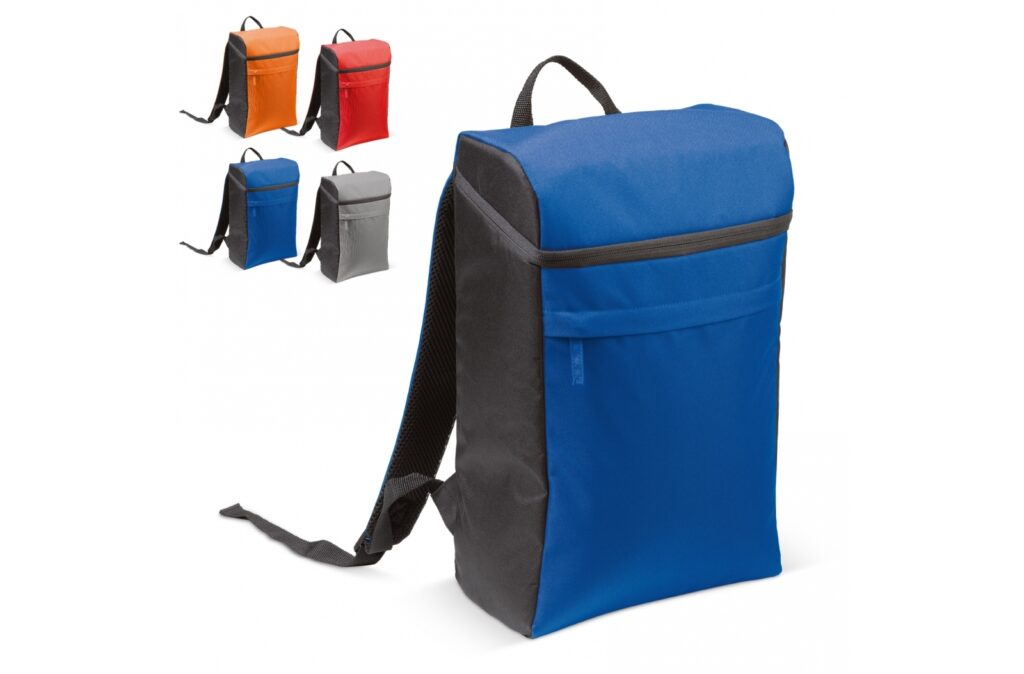 Spacious and comfortable cooler bag with backpack function. Because of the rectangular design, every nook and cranny can be used in an optimal way. On the front, a small (non cooled) pocket with zipper gives additional storage options.