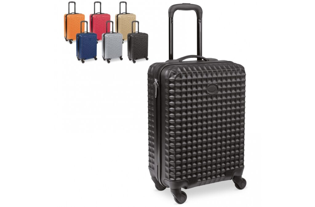 Cabin size trolley with a fully lined main compartment and elastic straps to keep the contents in place. The suitcase has four spinner wheels. With space for doming. Individually packed in a box.