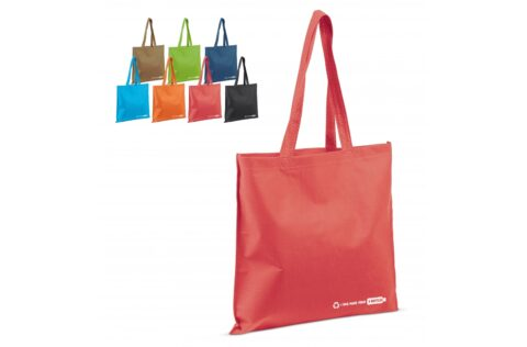 Four recycled post-consumer PET bottles have been used to make this bag. Reduce the plastic waste pile with this sustainable bag.