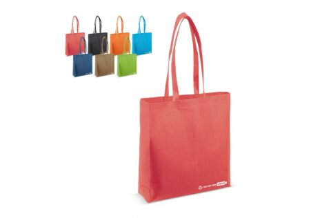 Four recycled post-consumer PET bottles have been used to make this bag. Reduce the plastic waste pile with this sustainable bag. The full gusset makes this bag extra spacious.