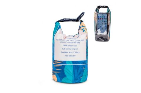 Convenient waterproof bag with a pocket for a smart phone. The touch screen of the phone can be used even while the phone is inside the bag. Keep your valuables clean and dry on the beach or near the water. This bag is made to order and can be printed all-over. Short delivery times.