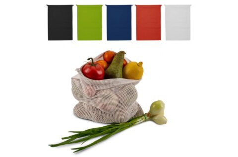 Reduce the number of plastic bags in the supermarket by using your own food bag. This cotton bag with mesh is highly suitable for fruits and vegetables. Re-use it over and over again and when dirty, simply wash it at low temperatures (could shrink).