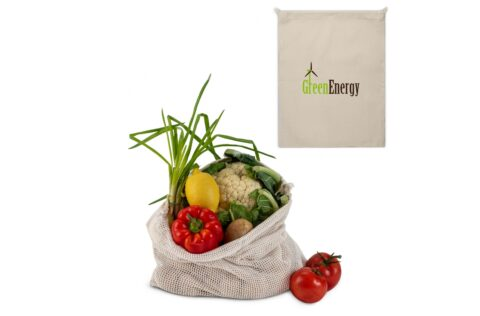 Reduce the number of plastic bags in the supermarket by using your own food bag. This unbleached cotton bag with mesh is highly suitable for fruits and vegetables. Re-use it over and over again and when dirty, simply wash it at low temperatures (could shrink).