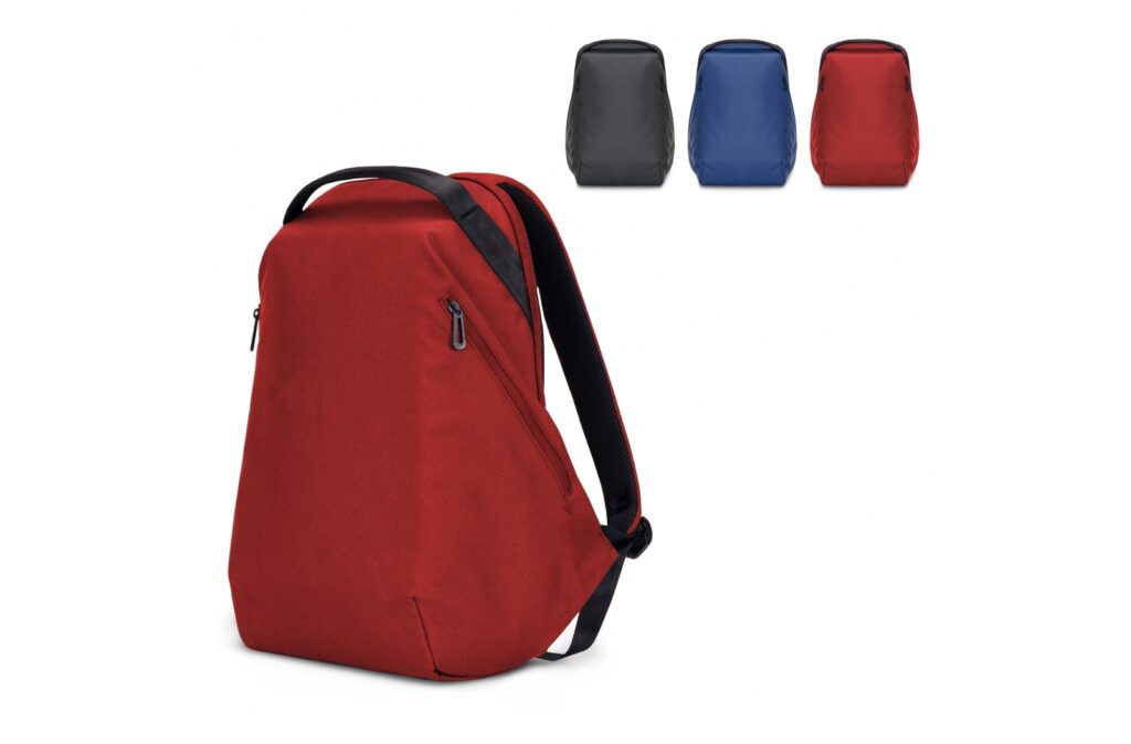 """Sophisticated anti-theft tech backpack made of R-PET. The spacious main compartment contains a padded pocket for a laptop (up to 15.6"""") and a sleeve for a tablet (11""""). On the sides zipper pockets can be found for small items. The comfortably padded back panel also features a luggage strap to connect it to a trolley suitcase."""