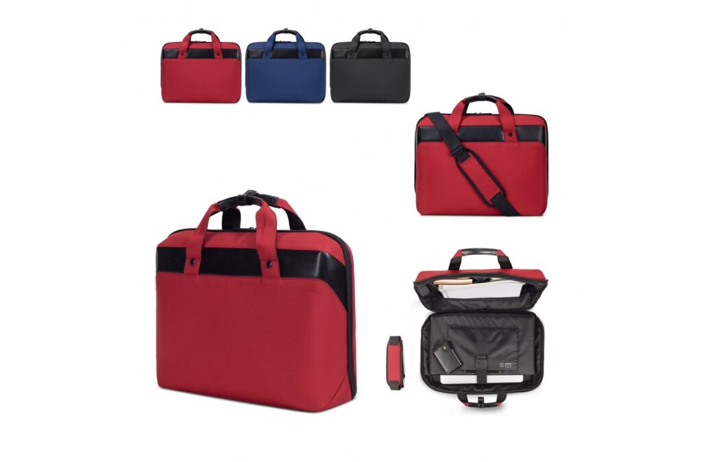 """Stylish and sturdy laptop/shoulder bag made of R-PET. The main compartment contains a padded pocket for a laptop (up to 15,6"""") and a sleeve for a tablet (up to 11""""). The optional shoulder strap is adjustable and extra wide for additional comfort. The padded back panel also features a luggage strap to connect it to a trolley suitcase."""