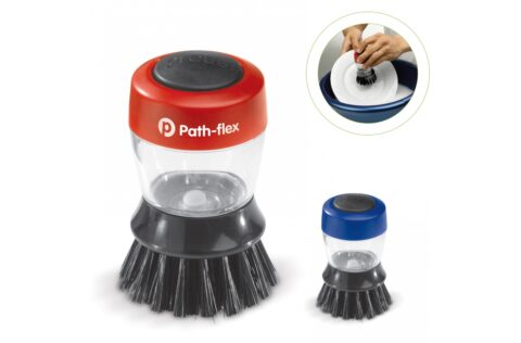 Compact dishwashing brush with imprint space on the handle. Dish soap can be poured into the transparent handle. Ideal for example the camping site as well as in the kitchen.