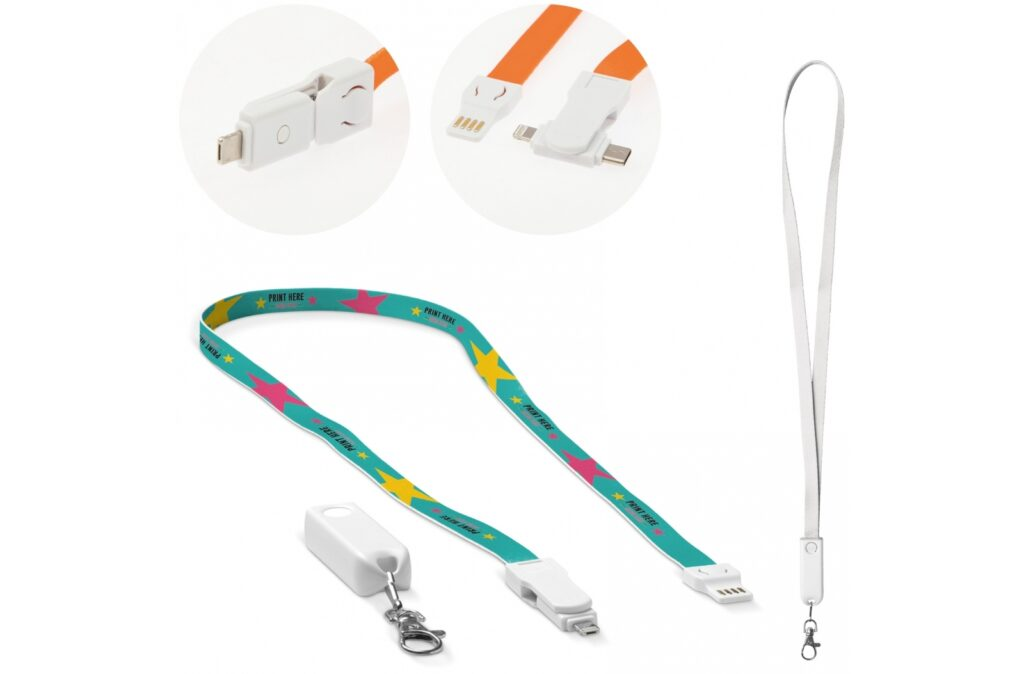 Fancy 3-in-1 charging cable and keycord with optional print on the cable and/or cap. This keycord comes with USB to Type-C, Micro-USB and lightning jacks making it suitable for practically every smartphone that is currently in the market. Delivery time approximately six weeks.
