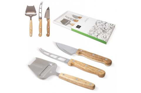 3-piece cheese set with a luxurious Acacia wooden touch. The set contains a cheese slicer, a knife for soft cheeses and a knife for the harder varieties. This set comes in a beautiful gift box.