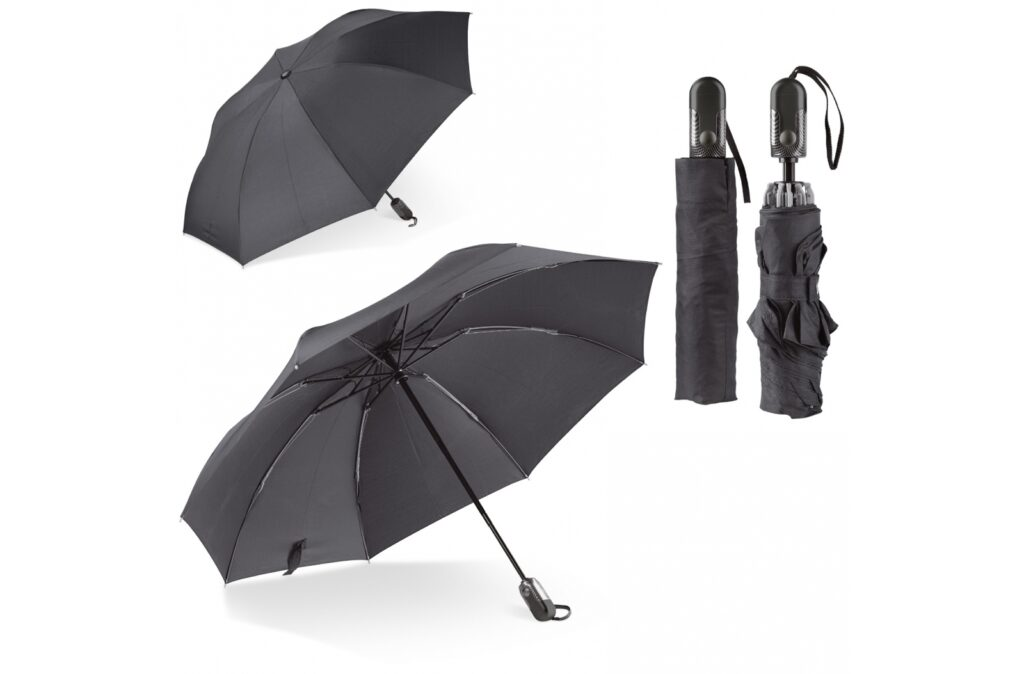 Get in your car dry. This reversible umbrella folds in such a way that the water droplets won't get you or the car's interior wet while closing it. This umbrella opens and closes automatically and has a fibreglass frame.