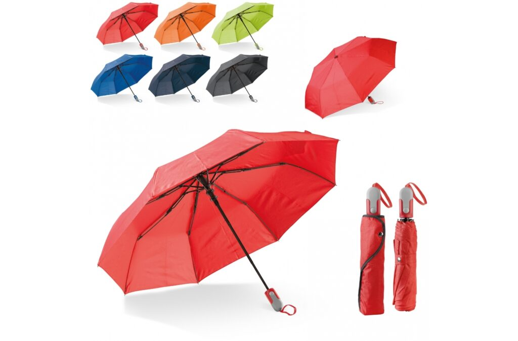 Beautiful foldable umbrella with sleeve and ergonomic design handle. The ribs of the frame are made of fibreglass for extra durability. The black frame gives a nice contrast to the colourful canopy made of pongee polyester.