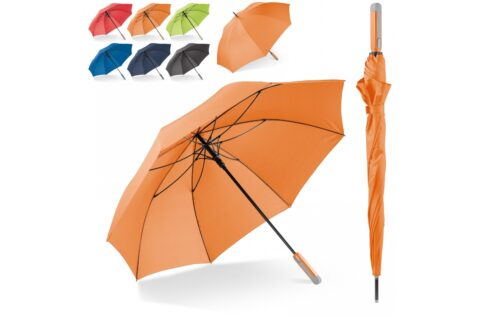 Large umbrella with wind proof fibreglass frame. The smart colour effect between the pongee polyester canopy and the ergonomical handle gives the umbrella a timeless look. Making it suitable for everybody.
