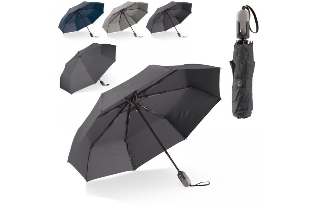 Luxurious foldable umbrella with a business look & feel. The ergonomically shaped handle features a mechanism to open and close the umbrella automatically. The frame is partially made of fibreglass, giving the umbrella additional strength. Comes with a sleeve.