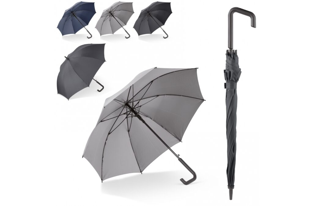 Deluxe stick umbrella with design handle. The frame is completely made of fibreglass and is wind proof.