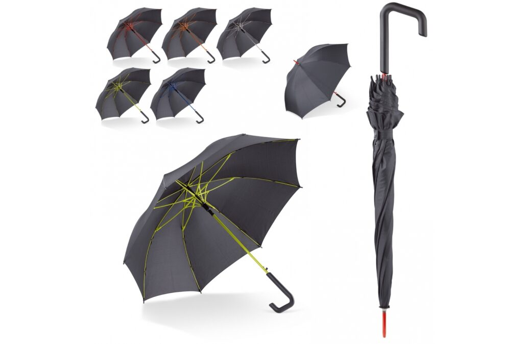 Neat looking stick umbrella with a striking design hook handle. The colourful frame is made of fibreglass to give it extra strength. Made of pongee polyester.