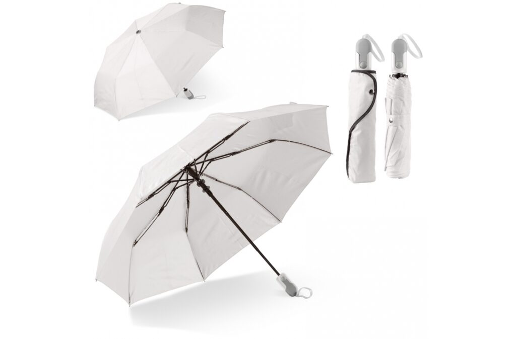Beautiful foldable umbrella with sleeve and ergonomic design handle. The ribs of the frame are made of fibreglass for extra durability. The black frame gives a nice contrast to the white canopy.