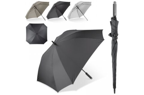 Travel in style with this large and luxurious umbrella. It's striking square design creates a larger surface and is big enough for two persons. The frame opens automatically, is full fibreglass and wind proof. It's easy to take along with the handy sleeve with shoulder strap.