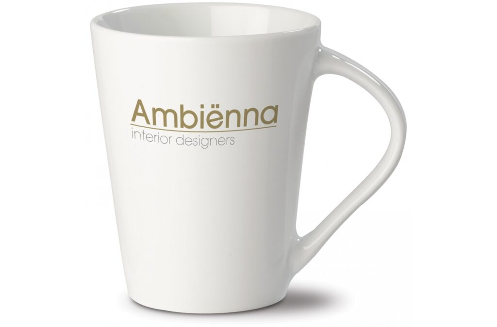 White porcelain mug. The original version of the 'Nice' collection. Conical model with large print area.