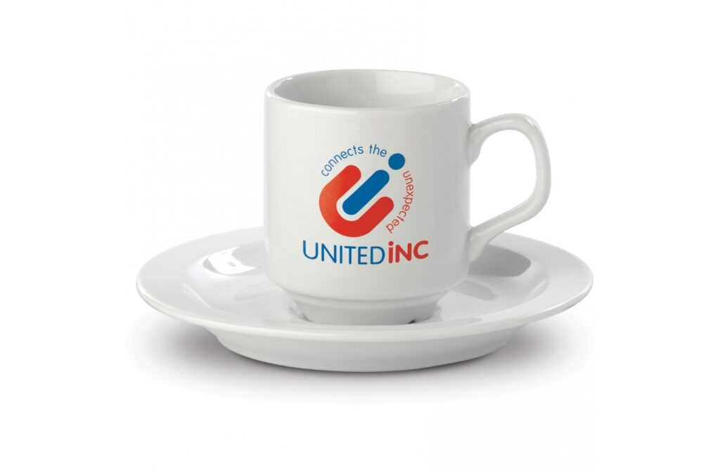 Stackable porcelain cup and saucer. Strong and solid. Slim model.
