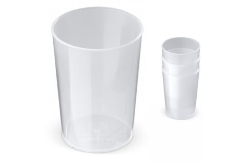 Reusable cups are the environmentally friendly alternative to the disposable cups. Can be used at festivals, concerts, sporting events or private parties. These strong cups are stackable, 100% recyclable and made of plastics complying with the strictest food safety regulations. The cups are completely taste and odor neutral.