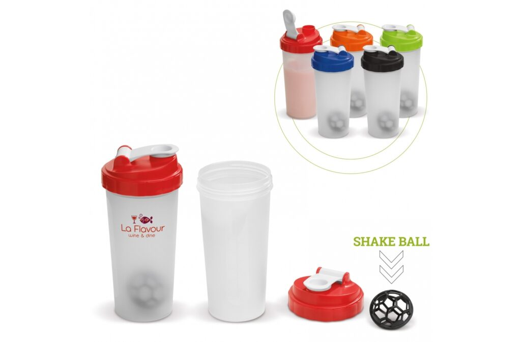 Shaker ideal for healthy drinks. The shake ball included prevents lumps. The shaker has a lid that can be closed. Ideal to take with you.
