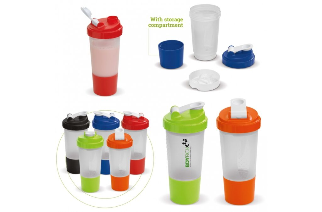 Shaker has everything you need during and after exercising. The shaker offers a storage box for sport supplements that are used by many athletes. The snap-on screen will shake all of your powdery contents and prevent clumping.