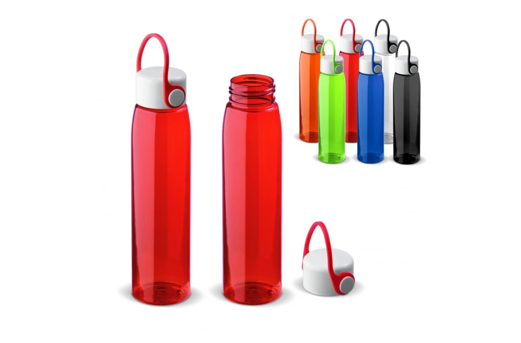 Leak-proof water bottle with silicone handle. The slim model fits easily in the (laptop) bag and has a modern look. The bottle is BPA-free, durable and reusable. Suitable for cold, non-carbonated drinks.
