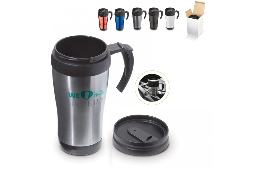 Metal thermo car mug suitable for hot drinks. Outside metal, inside plastic. Delivered in a gift box.