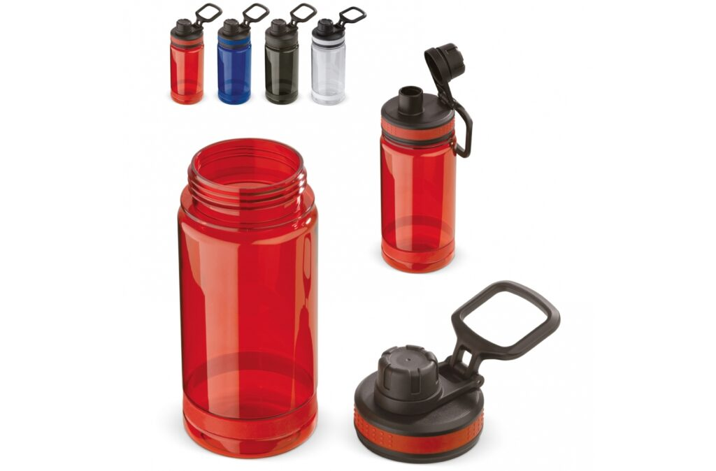 Adventure water bottle made of tritan is ideal for use during sporty activities like hiking, canoeing or running. The leak-free bottle has a sturdy appearance due to the lid with screw cap opening and contains a handle that makes it possible to hang the bottle. Suitable for cold (non-carbonated) drinks.