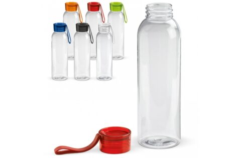 Transparent Tritan drinking bottle with coloured cap. This useful water bottle is equipped with a silicone strap so that it is easy to carry or can be attached to a bag for example. Suitable for cold, non-carbonated drinks.