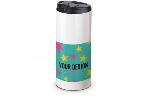 A 100% leak-proof vacuum insulated mug. Very useful because you can safely carry this mug with drink in, for example, a bag. The mug's coating gives the possibility for sublimation printing.