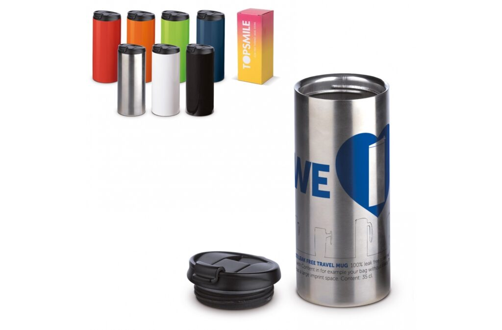 A 100% leak-proof vacuum insulated mug. Very useful because you can safely carry this mug with drink in, for example, a bag.