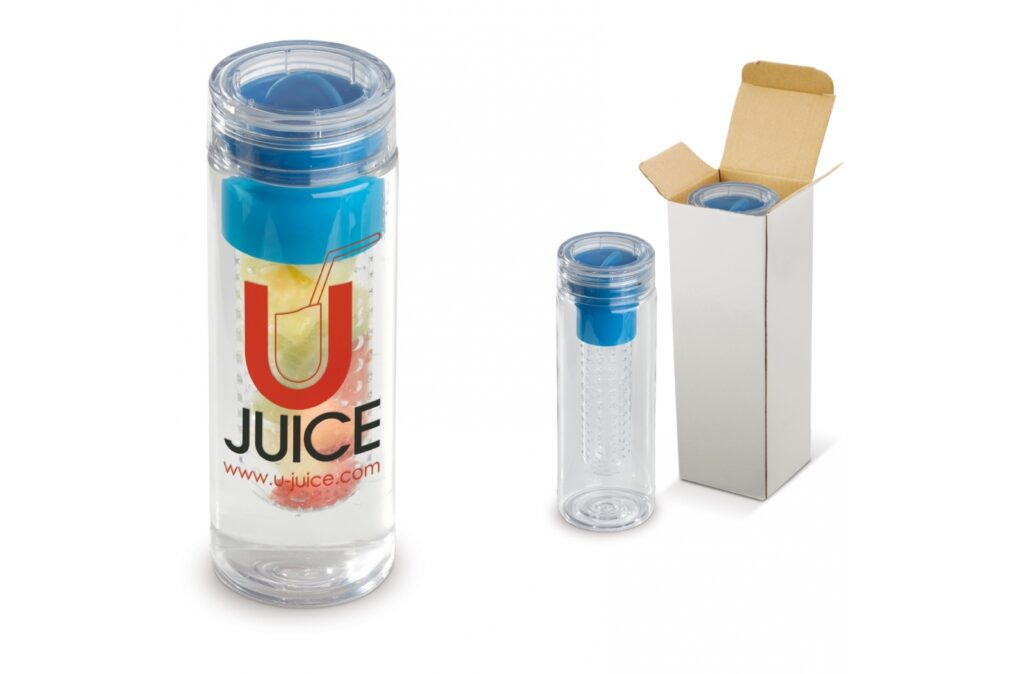 Water bottle, suitable for cold drinks, incuding detachable compartment where fruit or mint can be put in which is giving your water flavour. Very suitable to offer this item as a healthy giveaway.