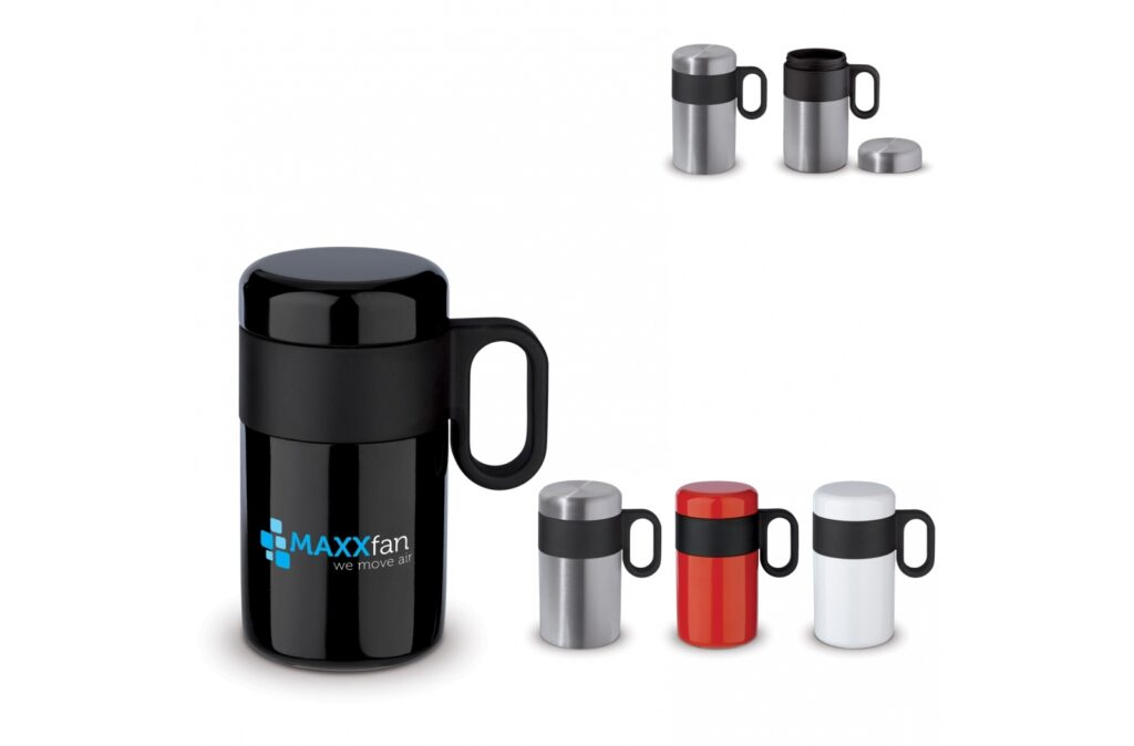 Double wall vacuum insulated bottle from the 'Flow' series. The mug with flip lid is 100% leak-free and easy to carry. The inner and outer wall are made of stainless steel and are of high quality. This keeps the drink at the desired temperature for longer.