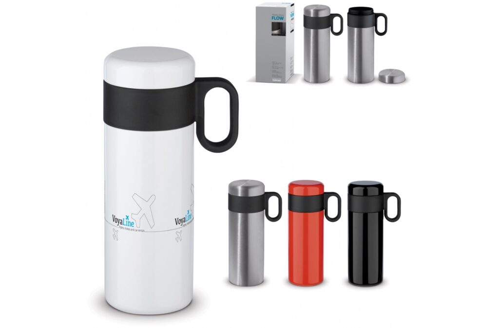 Double wall vacuum insulated bottle from the 'Flow' series. The mug is 100% leak-free and easy to carry. The inner and outer wall are made of stainless steel and are of high quality. This keeps the drink at the desired temperature for longer.