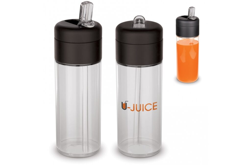 Drinking bottle made of tritan material from the Flow series. The bottle with spout and straw is 100% leak-free and BPA-free. Suitable for cold (non-carbonated) drinks.