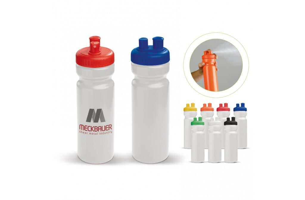Toppoint design high quality Sports bottle with a vaporiser. Push the button and this will release a small amount of water from the spray, helping your body to cool down quicker. The sport bottle is 100% leakfree, BPA free and can be printed all over.