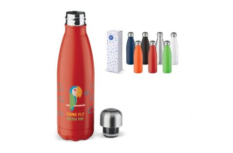 Leak-free double-walled thermo bottle. The drinking bottle is vacuum insulated which will keep hot drinks hot and cold drinks cold. Each packed in a gift box.
